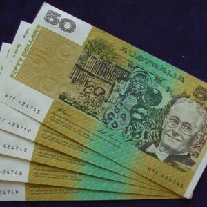1993 Australia Fifty Dollars Consecutive Run of 5 Notes - WYF