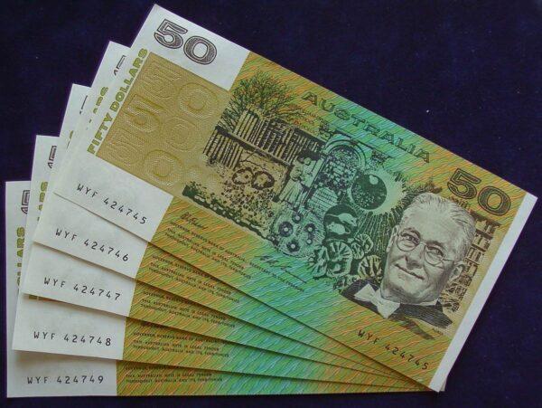 1993 Australia Fifty Dollars Consecutive Run of 5 Notes - WYF