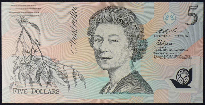 1993 Australia Five Dollars Polymer - EA93 Last Prefix