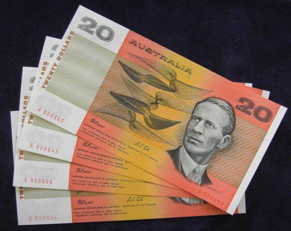 1993 Australia Twenty Dollars Paper x4 - Red Serials