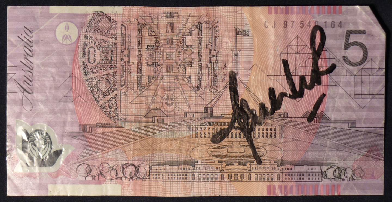 1997 Australia Five Dollars Polymer - CJ97 - Shane Warne Signature