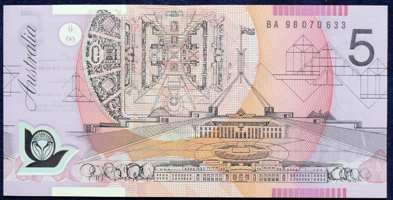 1998 Australia Five Dollars Polymer - BA98 First Prefix  A
