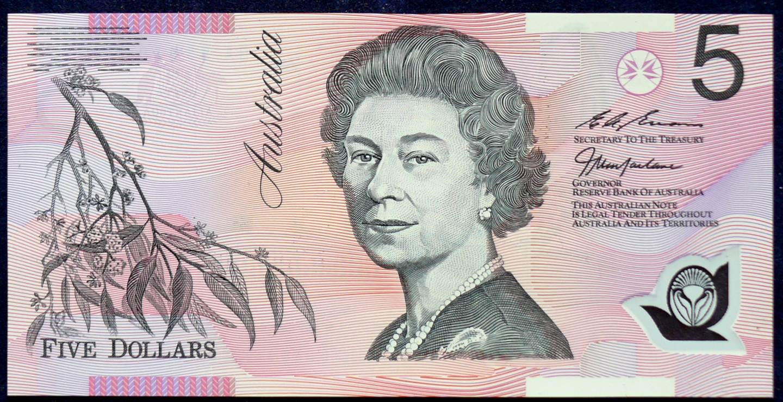 1998 Australia Five Dollars Polymer - BA98 First Prefix  B
