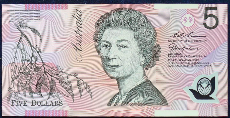 1998 Australia Five Dollars Polymer - BA98 First Prefix  C