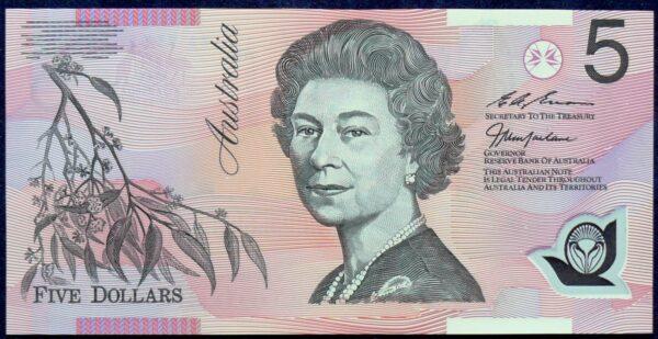 1998 Australia Five Dollars Polymer - BA98 First Prefix  D