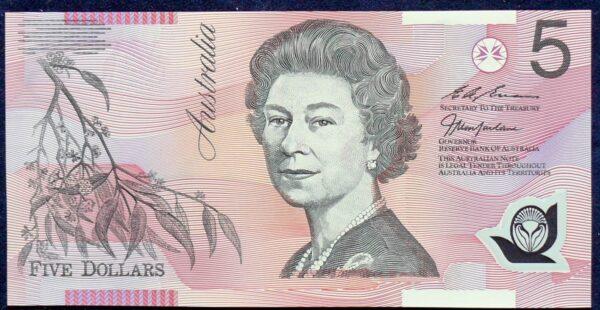1998 Australia Five Dollars Polymer - EA98 Last Prefix  A