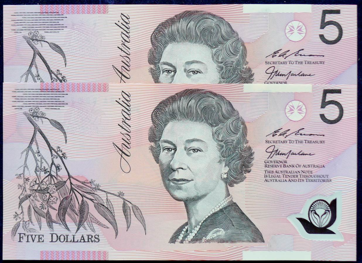 1998 Australia Five Dollars Polymer X 2- BA98   A