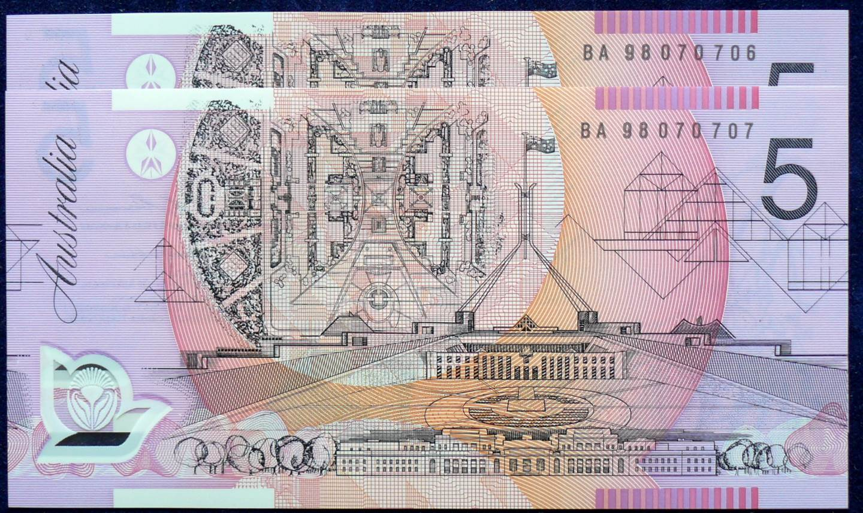 1998 Australia Five Dollars Polymer X 2- BA98  B