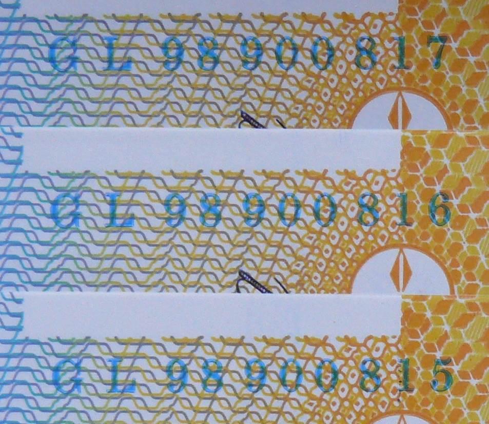 1998 Australia Ten Dollars Polymer X 3 - GL 98 - Last Prefix