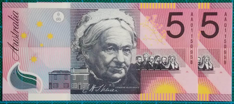 2001 Five Dollars Centenary of Federation AA01 First Prefix Pair