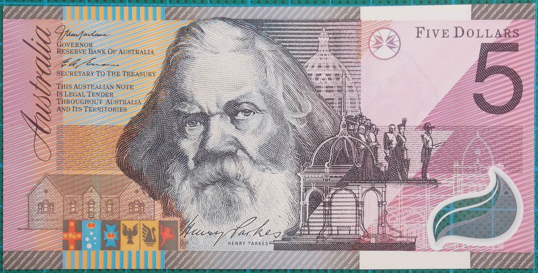 2001 Five Dollars Centenary of Federation AA01 First Prefix