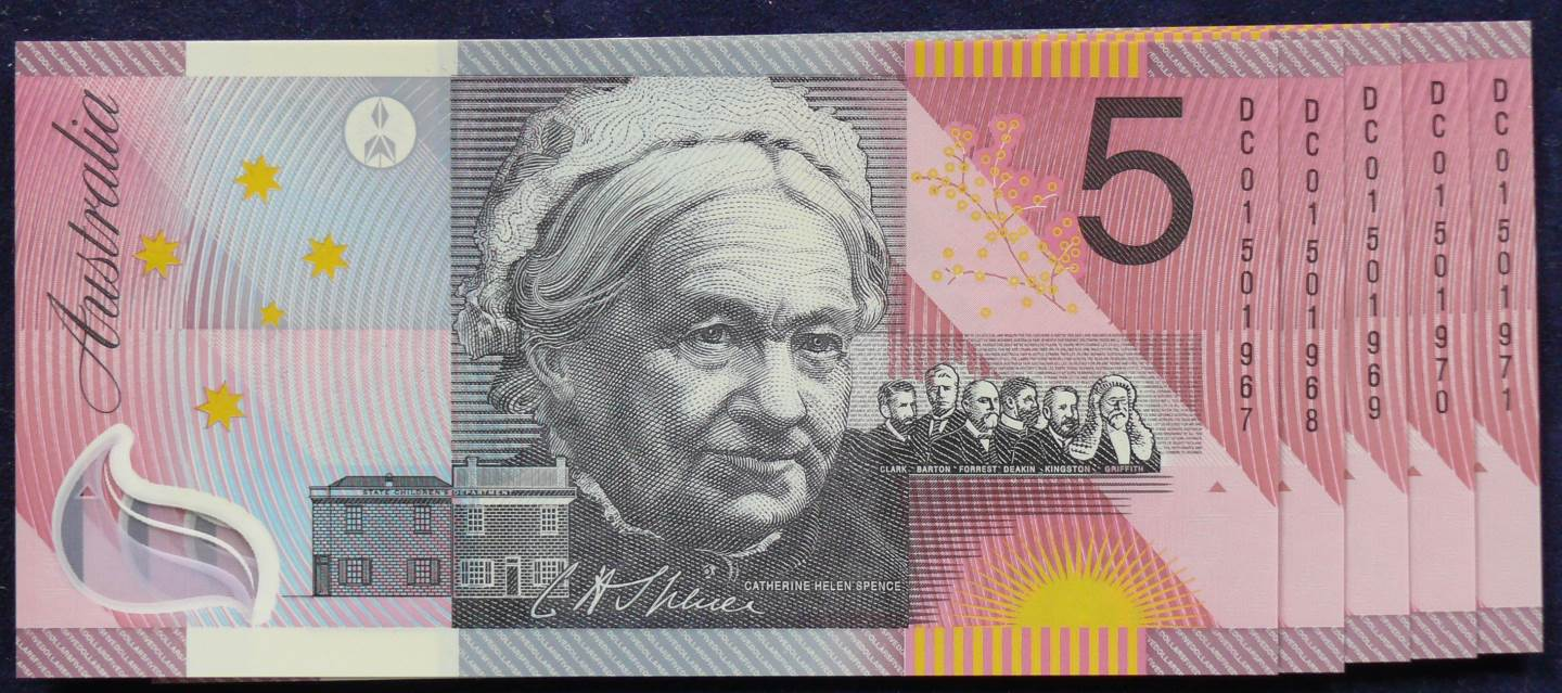 2001 Five Dollars Centenary of Federation x 5-DC01