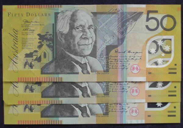 2005 Australia Fifty Dollars - AA 05 / 06 / 07 - 3 x First prefix