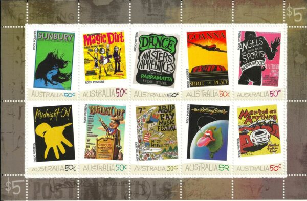 2006 Australia Post Stamp Sheetlet - Rock Posters