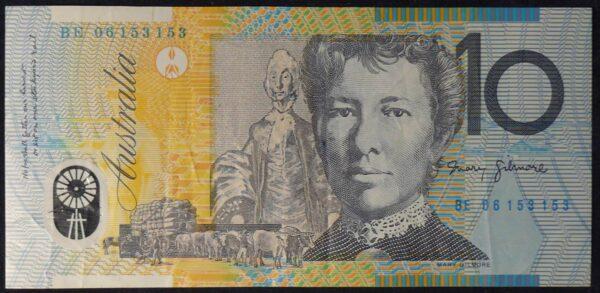 2006 Australia Ten Dollars Polymer - BE 06 - Repeater with print error