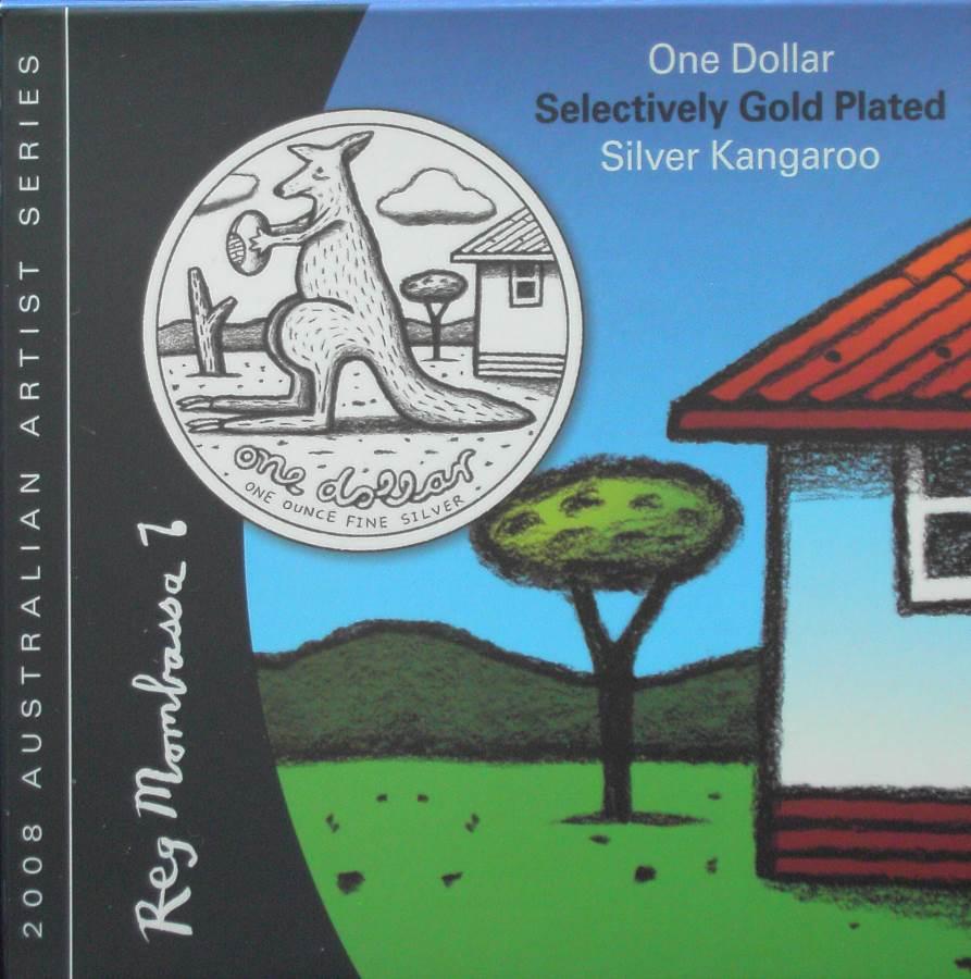 2008 Kangaroo One Dollar - Reg Mombassa - Gold Plated