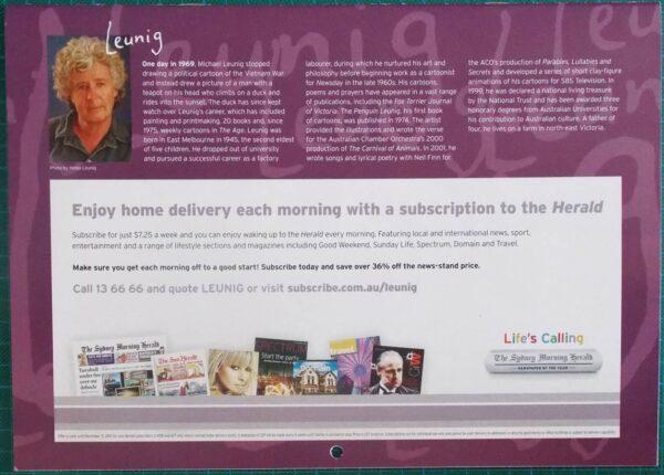 2010 Michael Leunig Sydney Morning Herald Calendar New