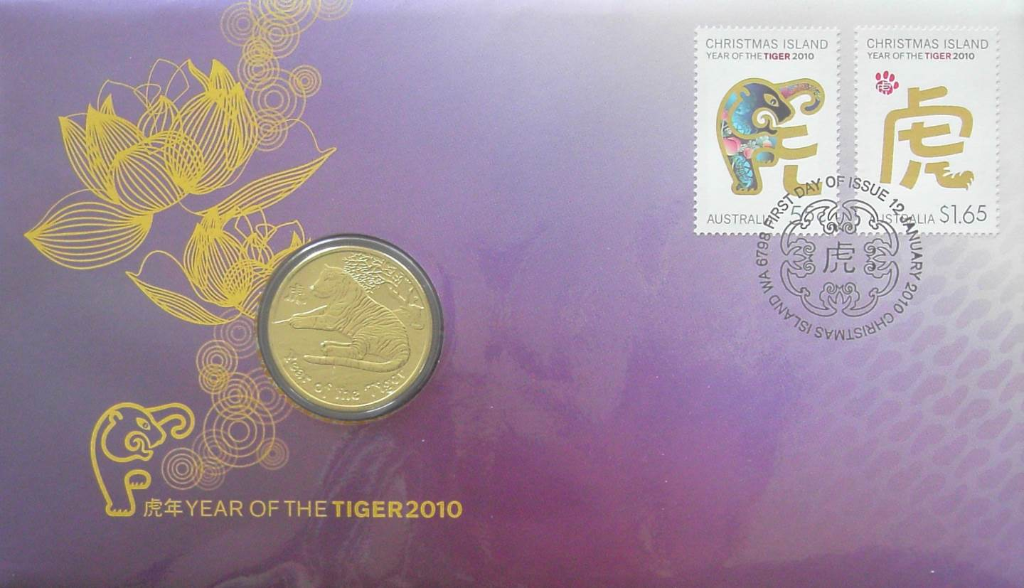 2010 Australia Post - Year Of The Tiger Coin and Stamp Cover