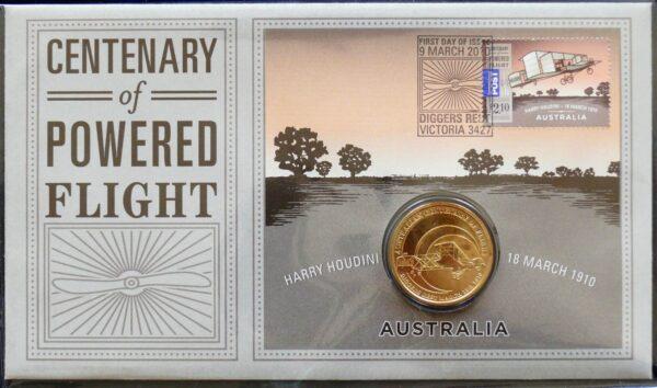 2010 Australia Powered Flight Coin and Stamp Folder