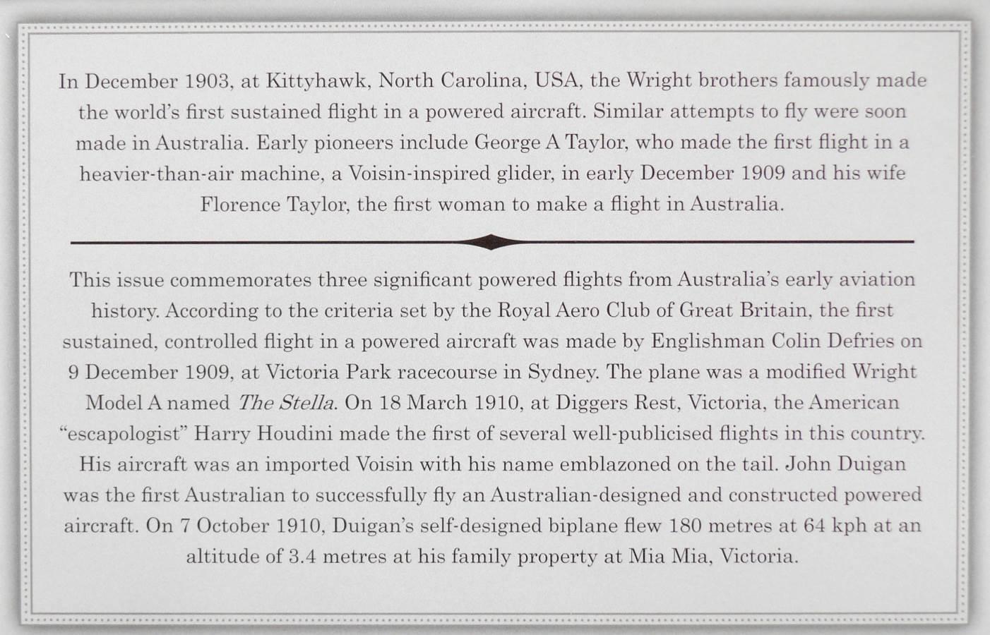 2010 Australia Stamp Pack - Centenary of Powered Flight