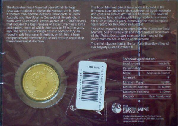 2011 Australia 1 Dollar Coin Card Fossil Mammal Sites
