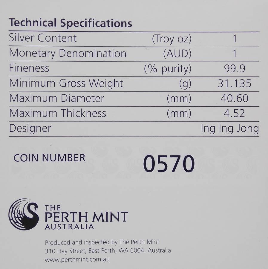 2012 Kookaburra Map Shaped $1 Silver Coin