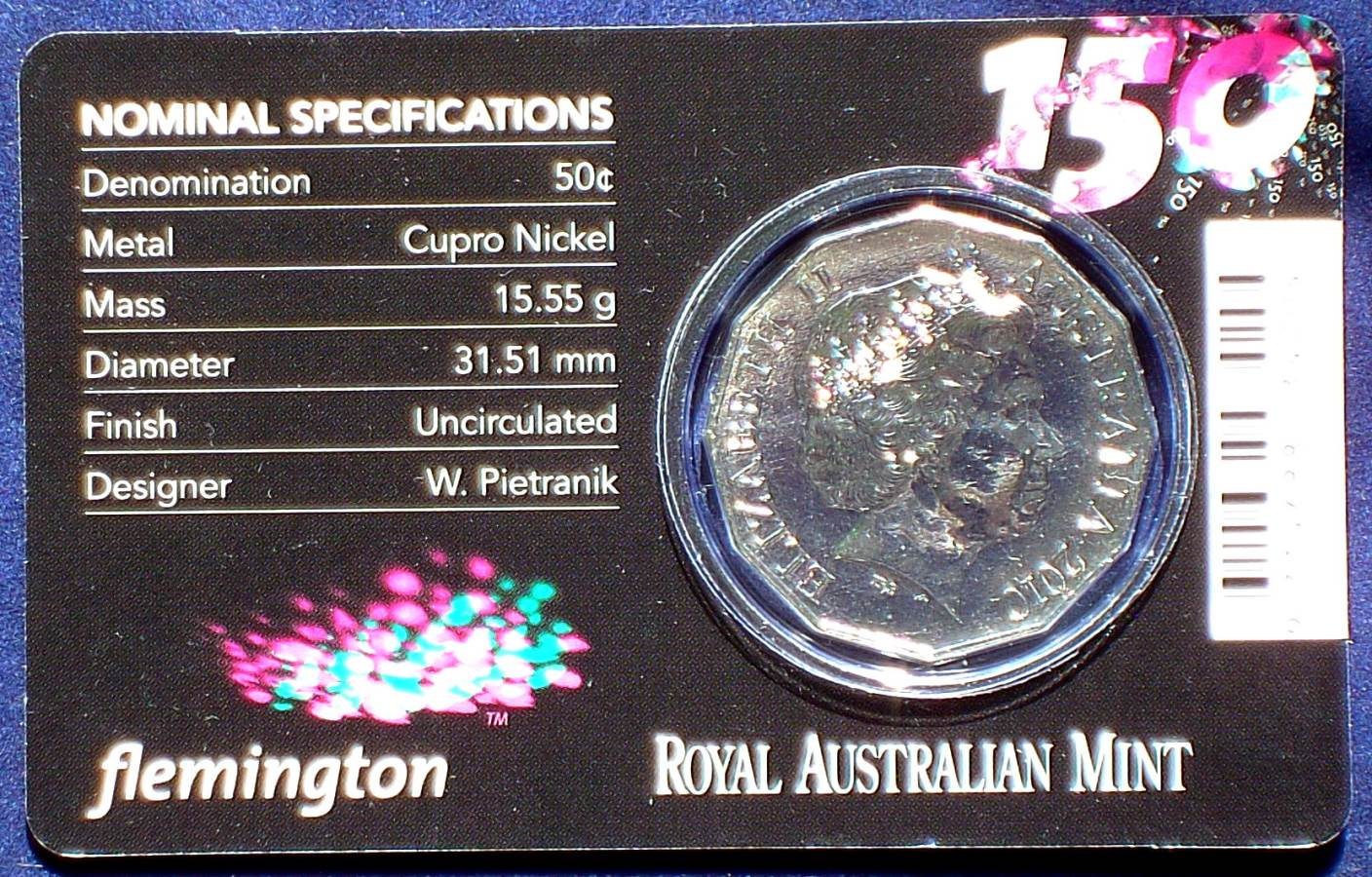 2013 150th Anniversary Of The Melbourne Cup - 50c Coin