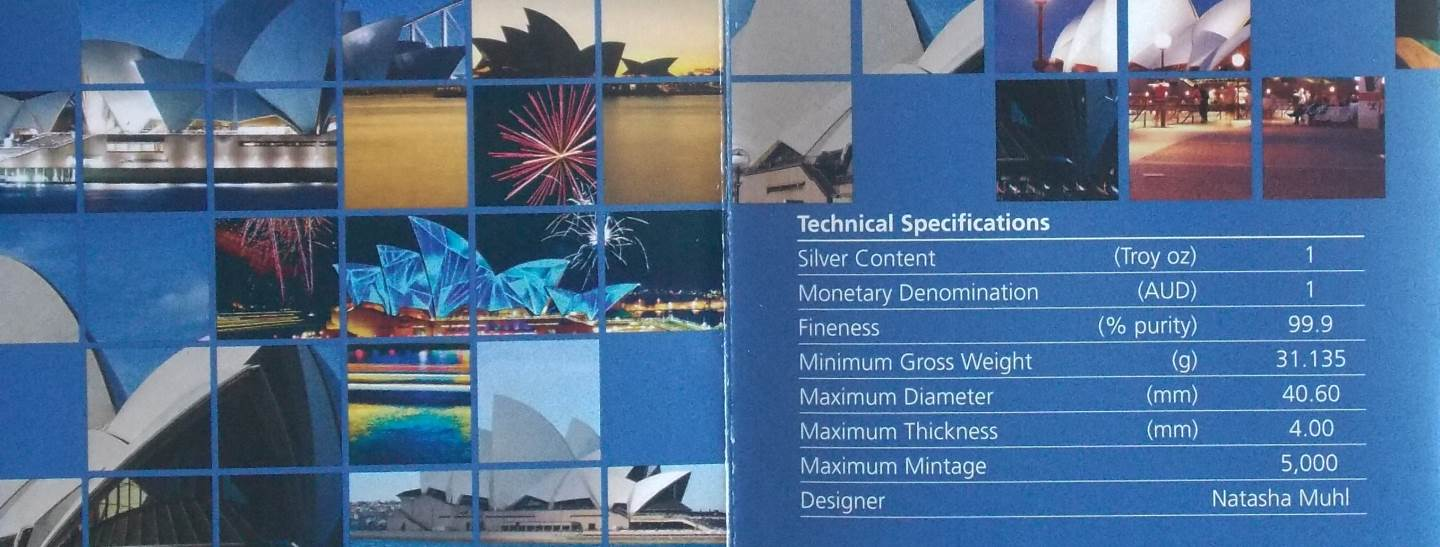 2013 THE LAND DOWN UNDER SILVER PROOF SYDNEY OPERA HOUSE
