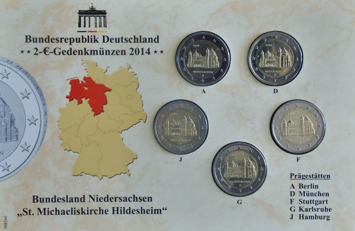 2014 ST MICHAELS CHURCH 2 EURO CARDED SET