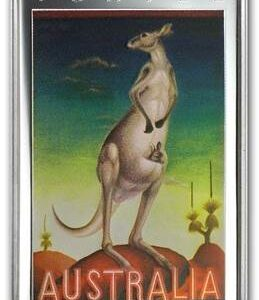 2014 Australia Vintage Travel Poster Kangaroo 1oz Silver Proof Rectangle Coin