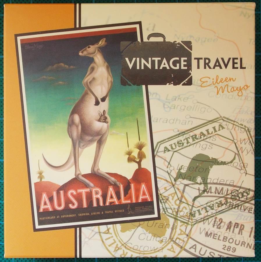 2014 Australia Vintage Travel Poster Kangaroo 1oz Silver Proof Rectangle Coin