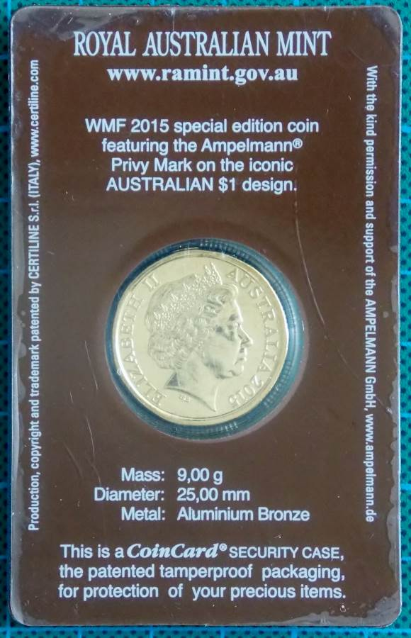 2015 AUSTRALIA ONE DOLLAR COIN WITH AMPELMANN PRIVY MARK