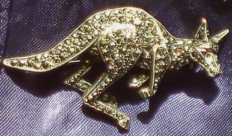 3D Art Deco Silver Marcasite Kangaroo Brooch circa 1940