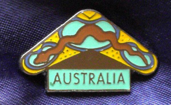 Aboriginal Dreamtime Boomerang + Snake Metal Pin