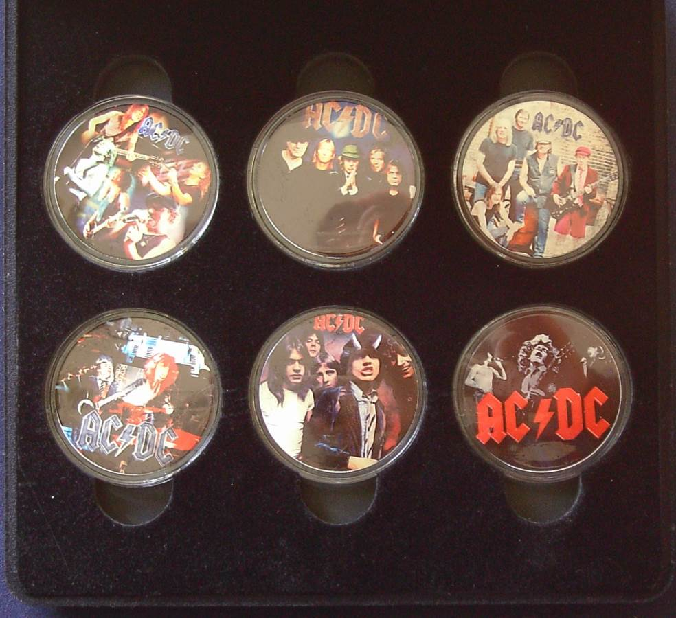 AC/DC Glazed Picture Coins - Set of 6 - Cook Islands