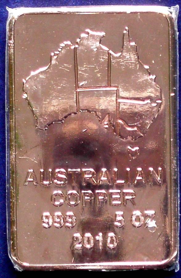 Australia Copper Bullion Bar 2010 - 5 Troy oz