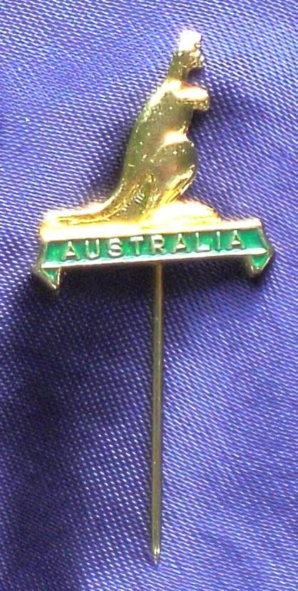 Australia Lapel Stick Pin with Kangaroo - Metal