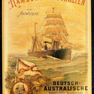 Australia To Hamburg - Mini Tin Plaque