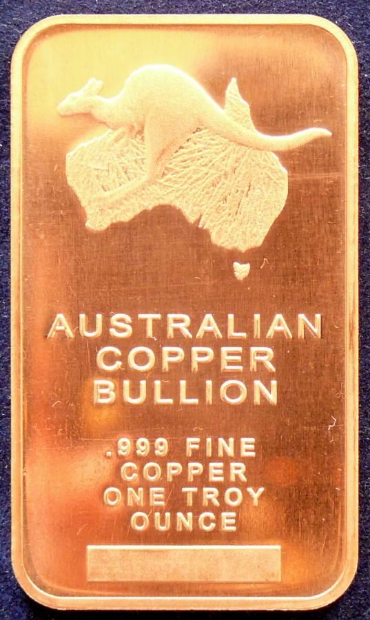 Australian Copper Bullion - 1 Troy oz - Very limited.