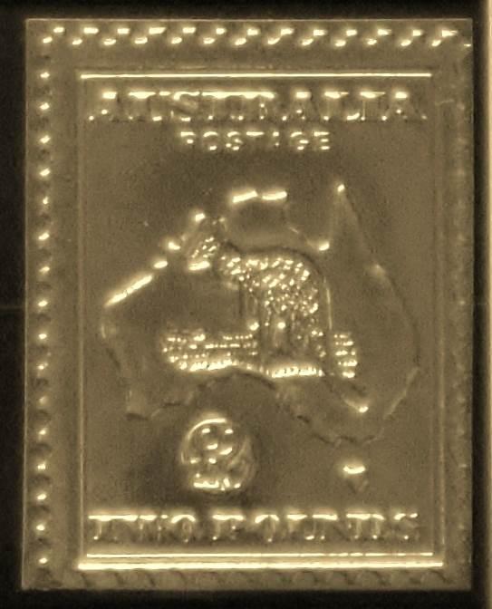 Gold Foil Australian 1913 Two Pound Postage Stamp