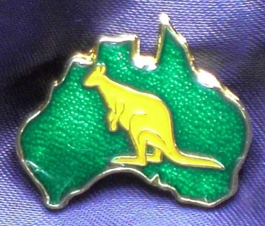 Green and Gold Map Pin with Kangaroo - Enameled Metal