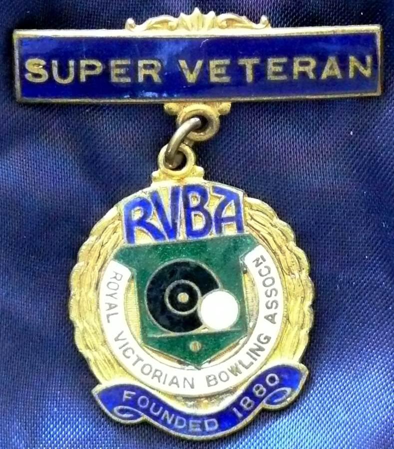 Royal Victorian Bowls Association Badge - Super Veteran