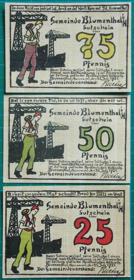 1921 Blumenthal Emergency Money Notgeld Full Set