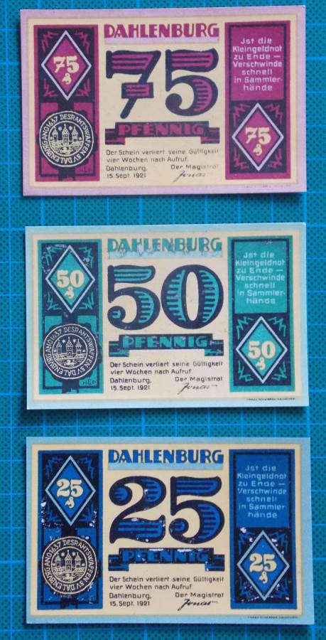 1921 DAHLENBURG NOTGELD BANKNOTE SET