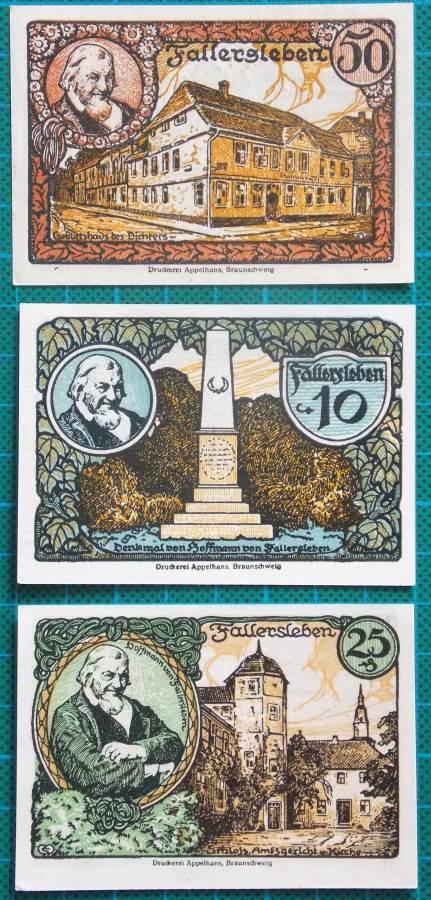 1921 FALLERSLEBEN NOTGELD BANKNOTE SET