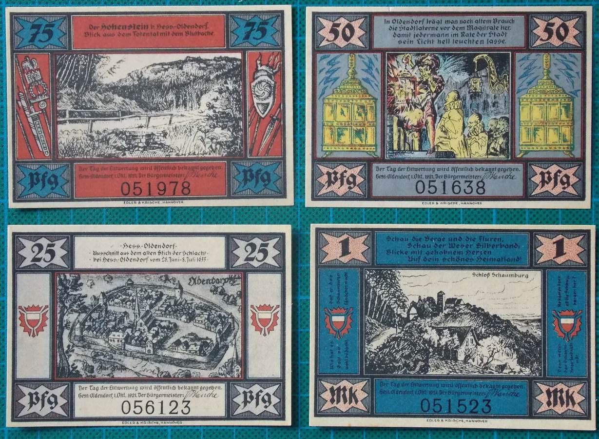 1921 HESSISCH OLDENDORF NOTGELD BANKNOTE SET