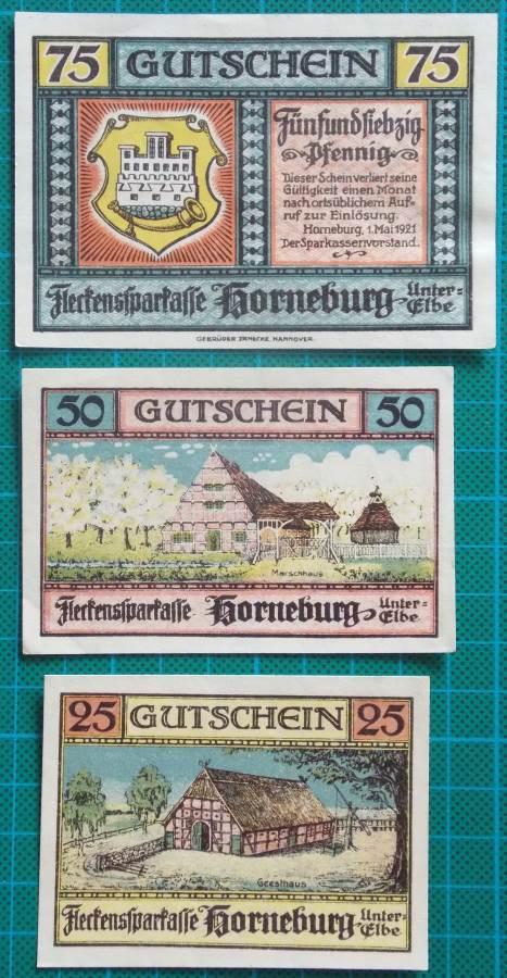 1921 HORNEBURG UNTER ELBE NOTGELD BANKNOTE SET