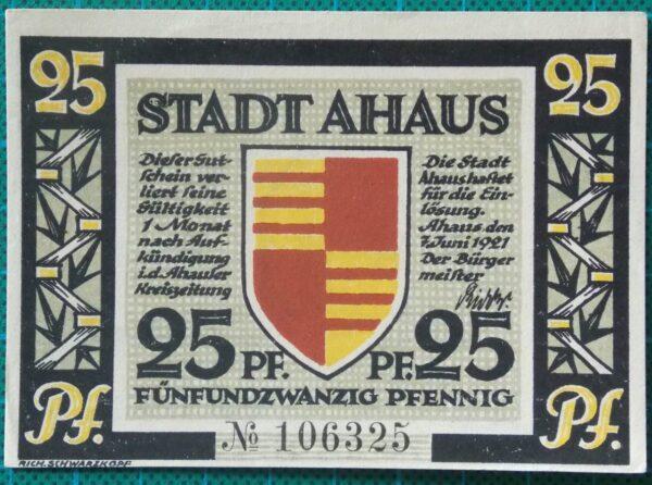 1921 STADT AHAUS 25 PFENNIG NOTGELD BANKNOTE