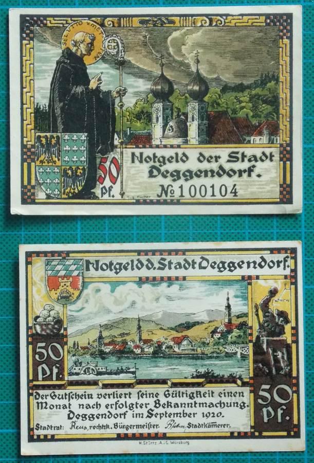 1920 STADT DEGGENDORF 50 PFENNIG NOTGELD NOTES