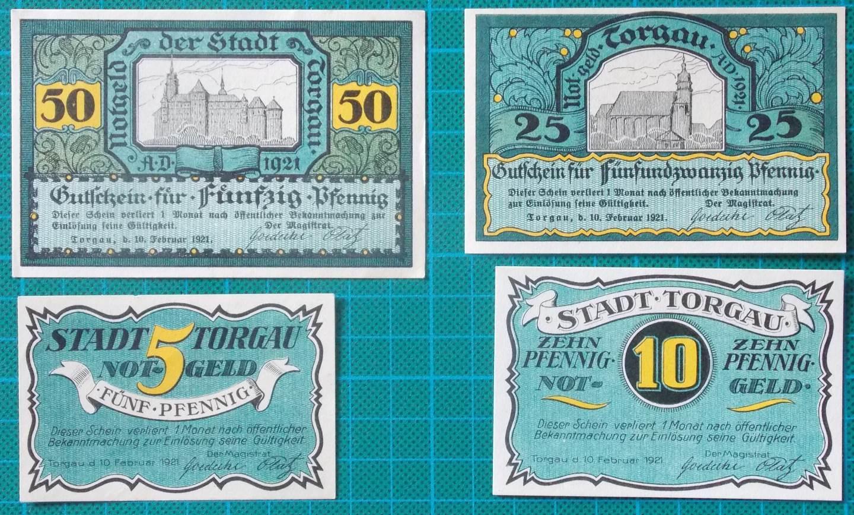 1921 TORGAU NOTGELD 4 BANKNOTE SET